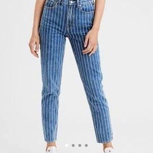 White Pinstriped Blue Jeans